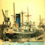 101 Blauwpijper (Phrontis-klasse) bij een werf
