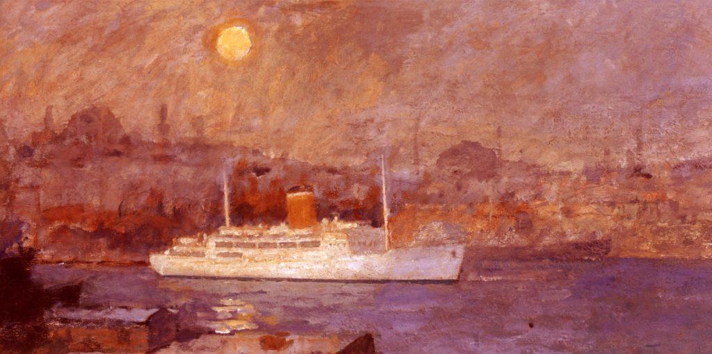 133 De haven van Istanbul bij nacht
