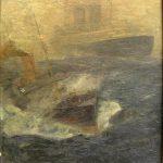 375 Duitse liner met loodsboot in de voorgrond